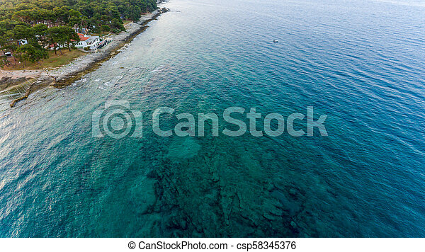 Bird eye view of coastline. - csp58345376