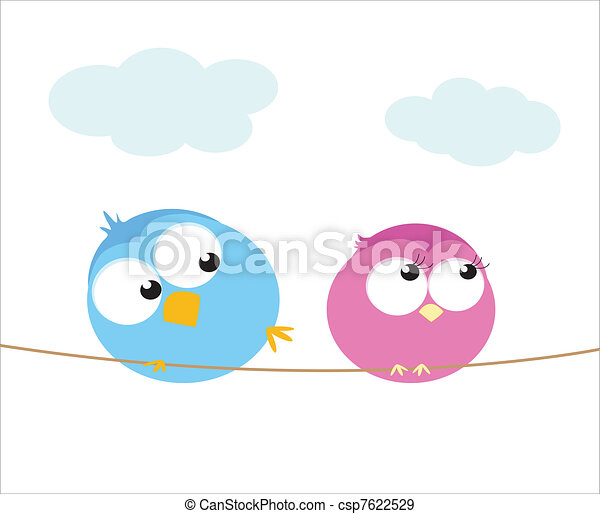 Bird flirt . Two cartoon birds sitting on a wire. vector illustration .