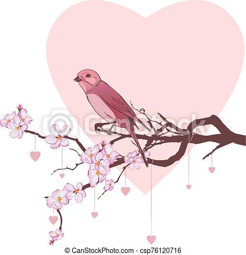 bird, heart and branch of cherry tree - csp76120716