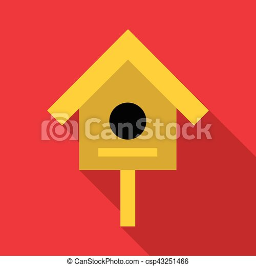Bird house icon, flat style - csp43251466