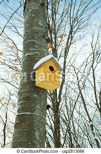 Bird house on the tree in winter - csp2813066