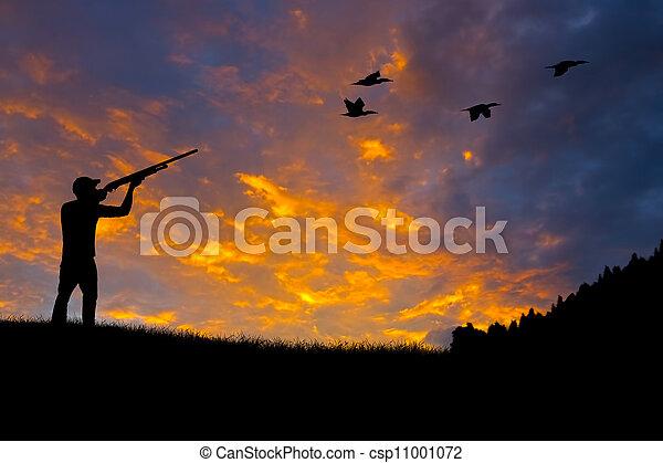 Bird Hunting Silhouette - csp11001072