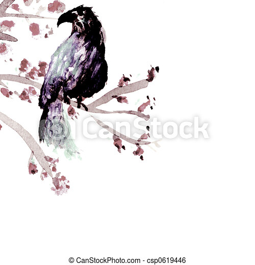 Bird in a tender tree - csp0619446