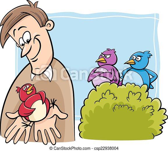 bird in the hand cartoon - csp22938004