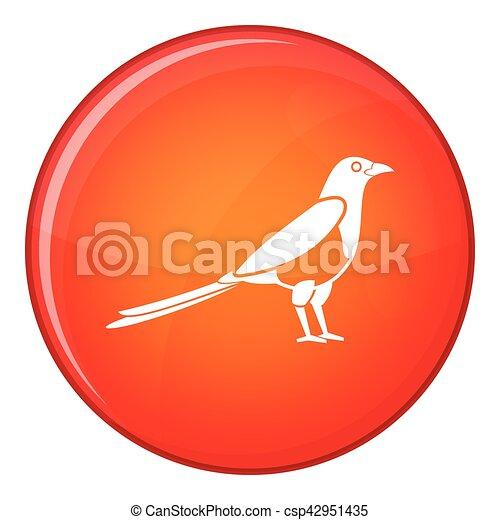 Bird magpie icon, flat style - csp42951435