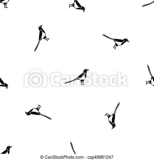 Bird magpie pattern seamless black - csp49981247