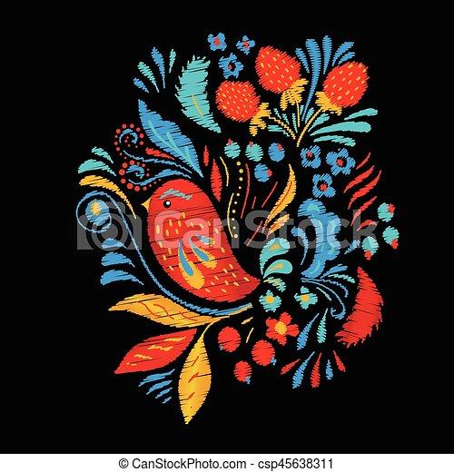 bird., moda, trascinare, berrias, luminoso, fiori, borsa, tshirt, disegno, ricamo, etnico, o - csp45638311