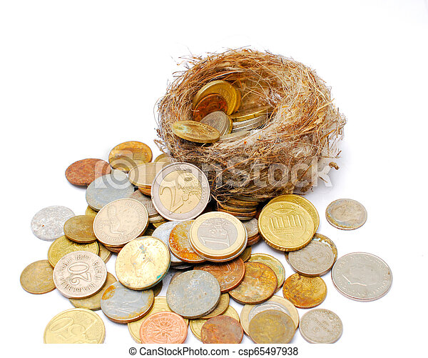 bird nest and old and new coins on white background - csp65497938
