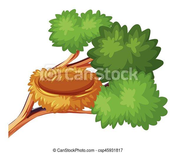 Bird nest on the branch - csp45931817