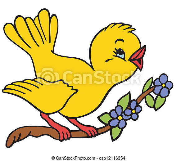 Bird on a branch - csp12116354