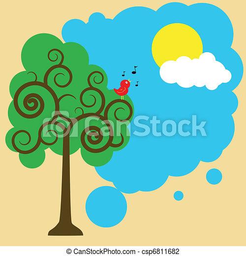Illustration of a bird on a tree greeting sun clip art ...