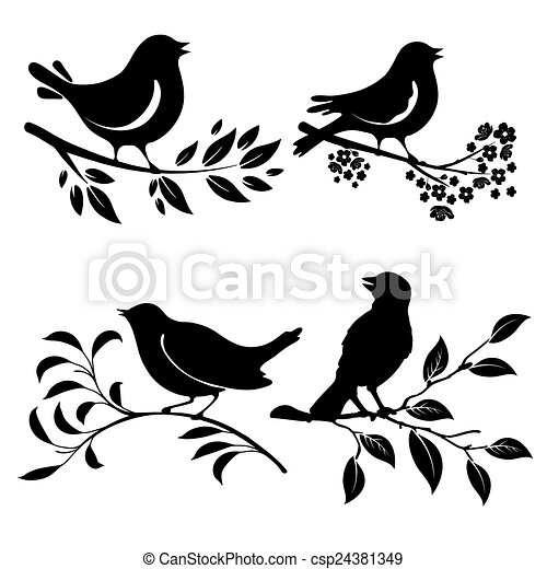 Bird On Branch Set Of Birds Silhouettes On A Branch