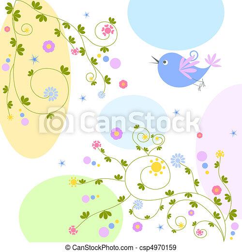 bird on floral background - csp4970159
