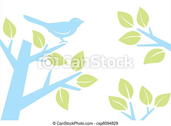 Bird on tree branch - csp8094829