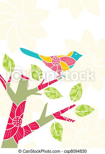 Bird on tree branch - csp8094830