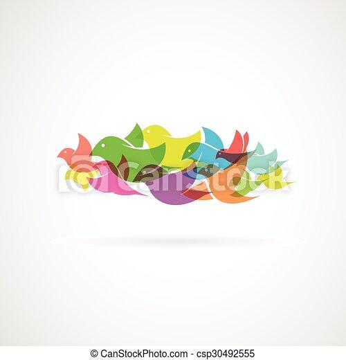 Bird on white background - Vector Illustration - csp30492555