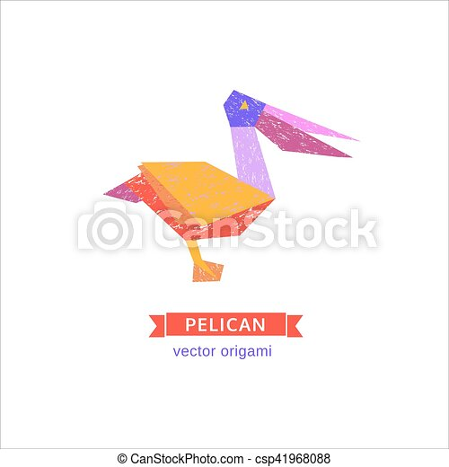 Bird Origami Icon Cartoon Bird Abstract Pelican Sign Freehand