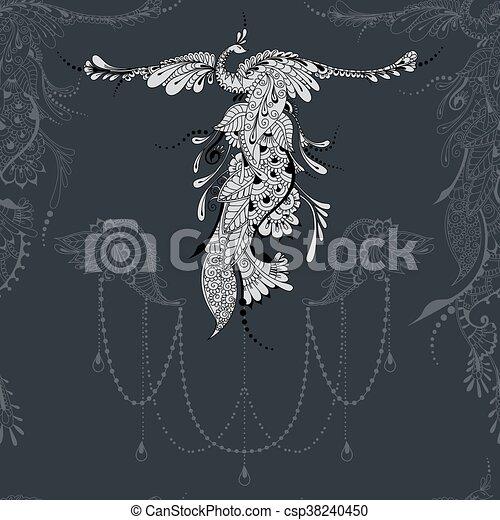 Bird Phoenix lace decor - csp38240450