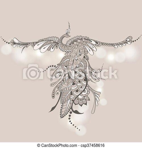 Bird Phoenix Mehndi - csp37458616