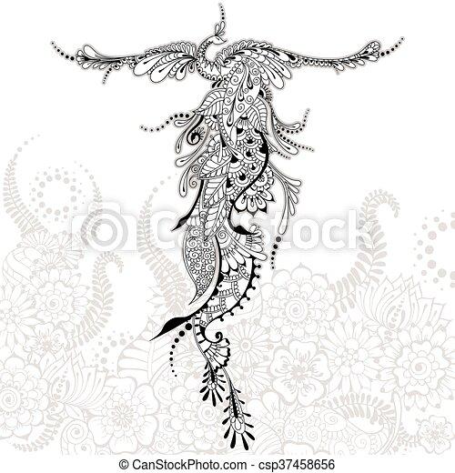 Bird Phoenix tattoo - csp37458656