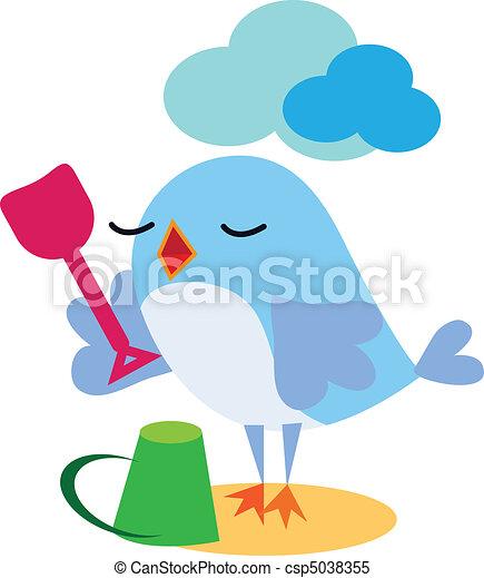 Bird playing with spade - csp5038355