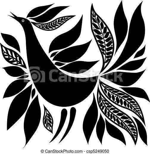 bird silhouette folk ornament - csp5249050