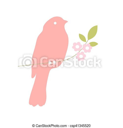 Bird silhouette on a tree branch, Vector Collection - csp41345520