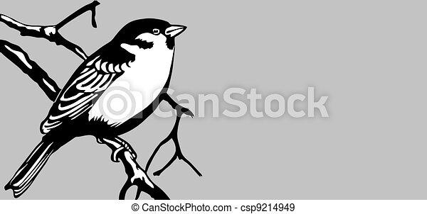 bird silhouette on gray background, vector illustration - csp9214949