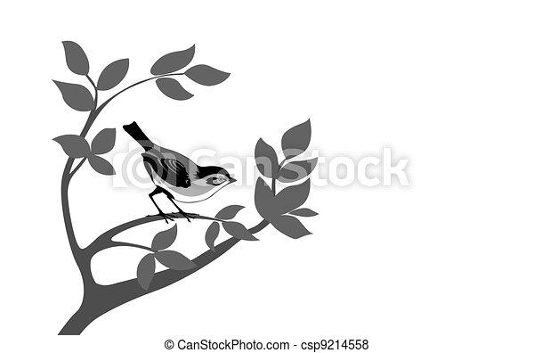 bird silhouette on wood branch, - csp9214558