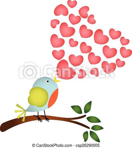 Bird singing a love heart song - csp26290005
