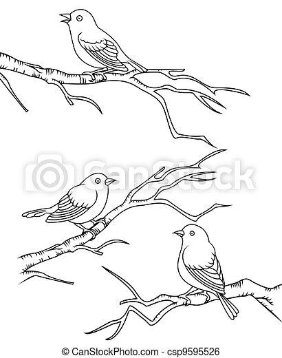 Bird sitting on a branch  - csp9595526