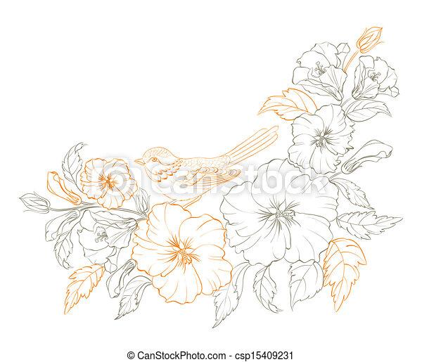 Bird sitting on a branch of hibiskus. - csp15409231