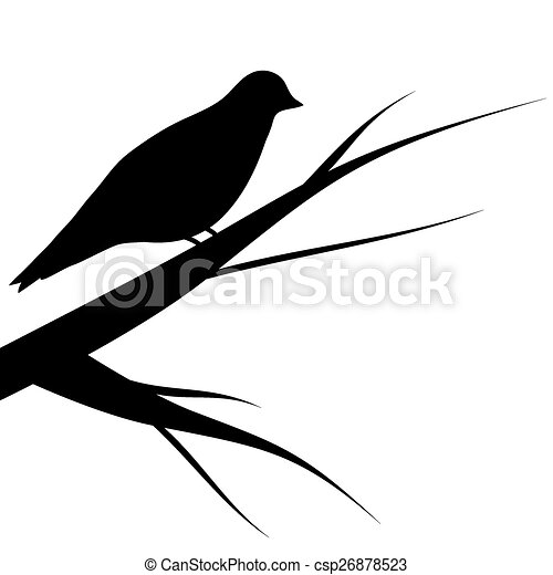 bird sitting on a tree silhouette - csp26878523