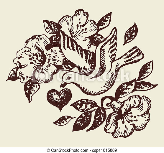 Bird with heart and flowers. Hand-drawn illustration - csp11815889