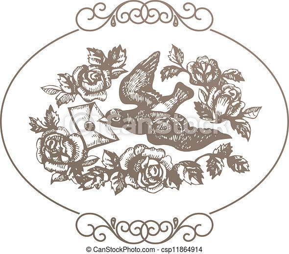 Bird with love letter and flowers - csp11864914