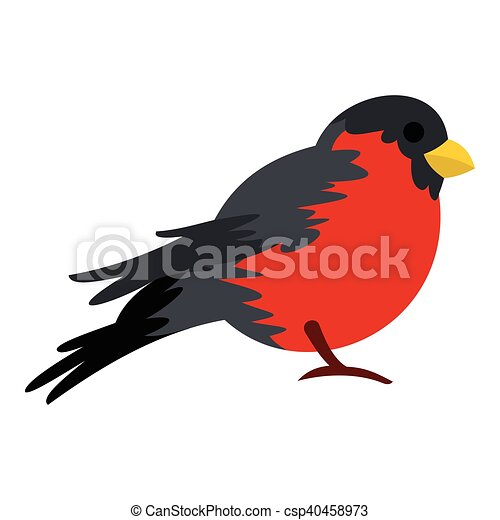 Bird with red plumage icon, flat style - csp40458973