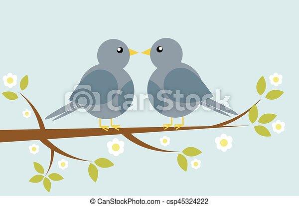 Bird with spring tree - csp45324222