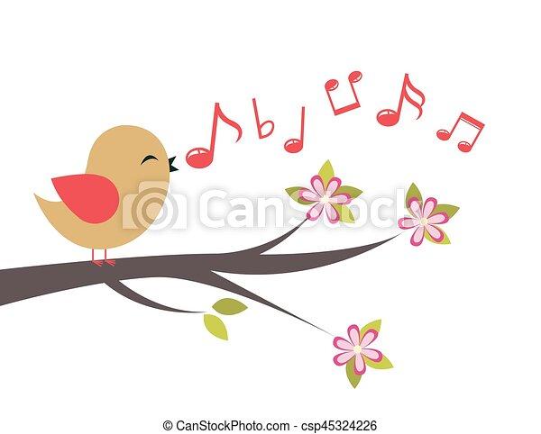 Bird with spring tree - csp45324226