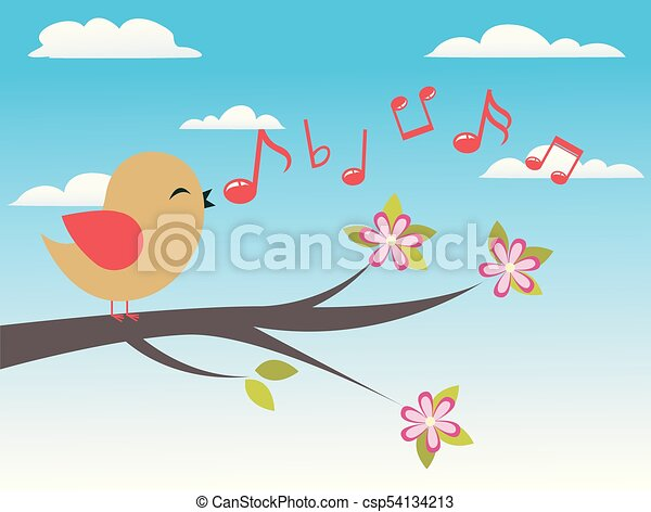 Bird with spring tree - csp54134213