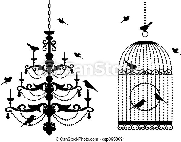 birdcage and chandelier with birds - csp3958691