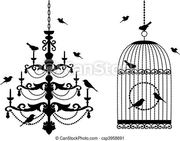 birdcage, lustre, pássaros - csp3958691