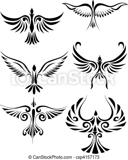 Birdd tribal tattoo - csp4157173