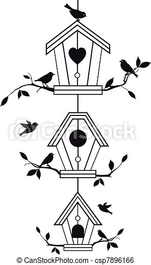 birdhouses with tree branches - csp7896166