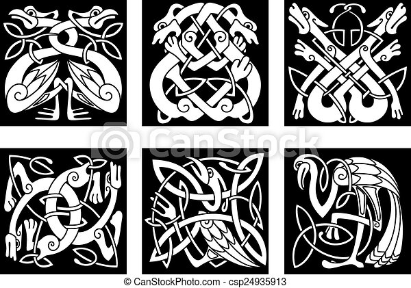 Vector Line Art Animals : Birds and animals in celtic ornament white on black intricate