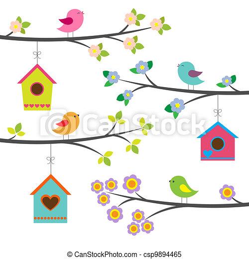 Birds and birdhouses. Vector set - csp9894465