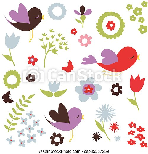 Birds and flowers pattern - csp35587259