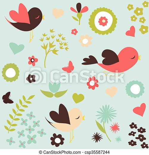 Birds and flowers pattern - csp35587244