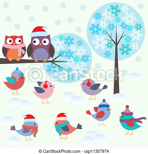 Birds and owls in winter forest - csp11307974