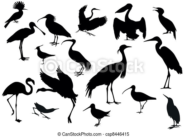 Line Art Of Birds : Black birds isolated clipart vector search illustration