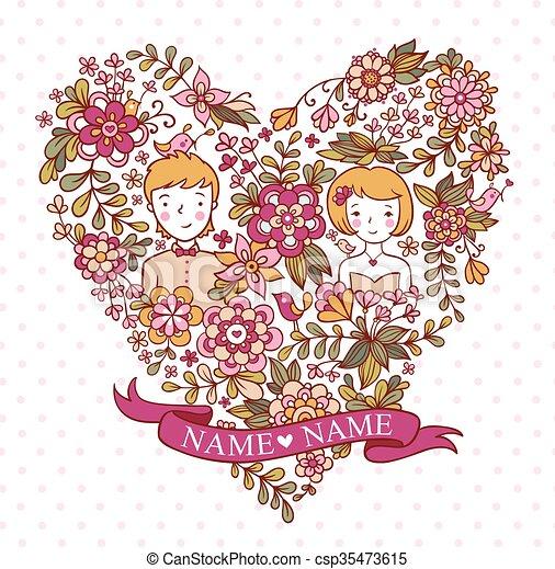 Birds Coeur Fleurs Mariage Newlyweds Marie Invitation
